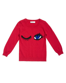 Winky Intarsia-Knit Long-Sleeve Sweater, Red, Size 2-7