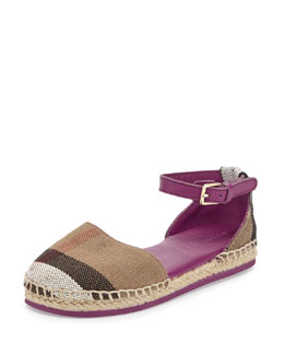 Girl's Check Canvas Espadrille, Magenta Pink