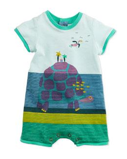 Striped Turtle Island-Print Shortall, Blue, Size 3-12 Months