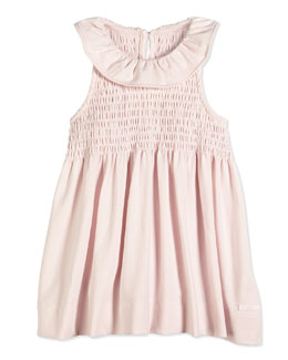 Sleeveless Smocked Jersey Dress, Light Pink, Sizes 2-12