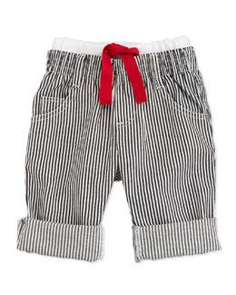 Striped Denim Pants, Black/White, Size 3M-2Y
