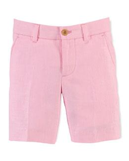 Linen Herringbone Preppy Shorts, Foster Pink, Size 2-7