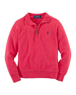 Half-Zip Jersey Pullover Sweater, Rosette Heather, Size 2-7