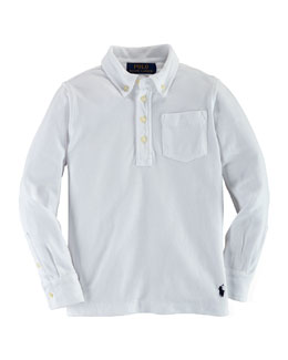 Long-Sleeve Mesh Polo Shirt, White, Size 2-7