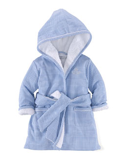 Hooded Terry-Lined Glen Plaid Bathrobe, Blue, Size 3-9 Months