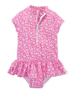 Floral-Print Wetsuit, Pink/White, Size 6-24 Months