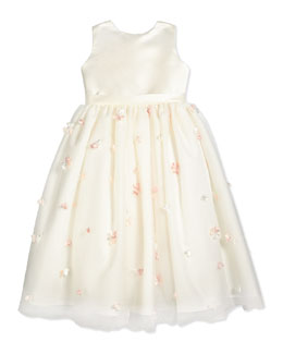 Sleeveless Floral Satin & Tulle Dress, Ivory/Pink, Size 2-14