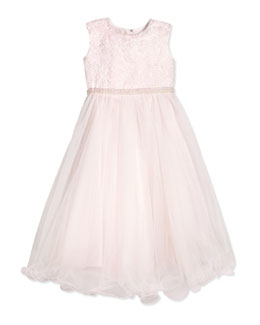 Sleeveless Satin & Tulle Dress, Ivory/Blossom, Size 2-14
