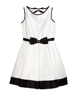 Contrast-Trim Satin Dress, Ivory/Black, Size 8-14