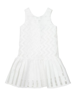 Illusion Fil Coupe Dress, White, Size 2-7