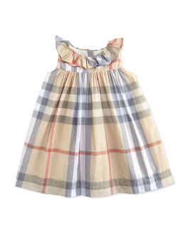 Ruffle-Collar Check Dress, Pale, 3-24 Months