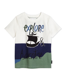 Adventure Graphic Tee, Bright Navy/White, Size 4Y-14Y