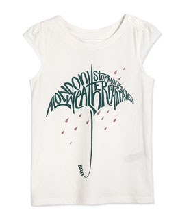 Cap-Sleeve Umbrella Graphic Tee, White/Green, Size 4Y-14Y