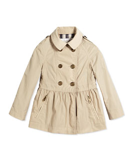 Skirted Trench Coat, Beige, Size 4Y-14Y