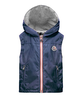 Deneb Jersey-Lined Hooded Vest, Dark Blue, Size 2-6
