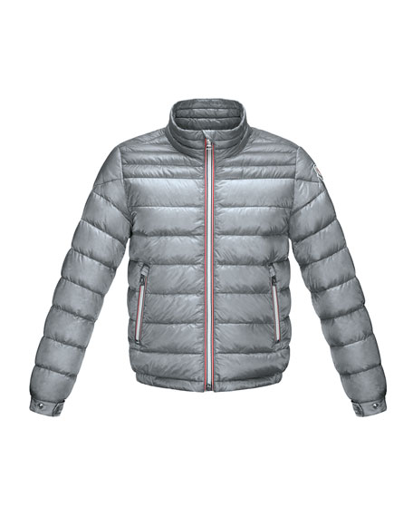 Moncler Daniel Long Zip-Front Lightweight Down Puffer Jacket, Gray, Size 2-6