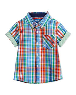 Nothing Else Madras Short-Sleeve Shirt, Blue, Size 2T-7Y