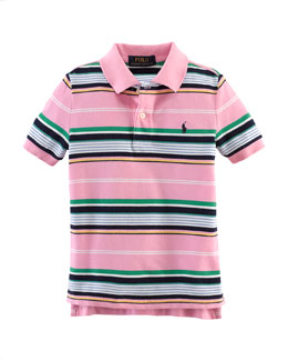 Striped Featherweight Polo Shirt, Pink, Size 2-7