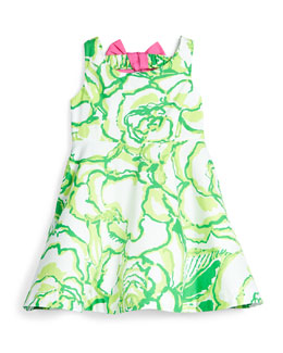 Kaya Bow-Back Fit-and-Flare Dress, Resort White Heart Breakers, Girls' Sizes 2-14