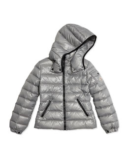 Bady Contrast-Trim Quilted Down Coat, Gray, Size 8-14