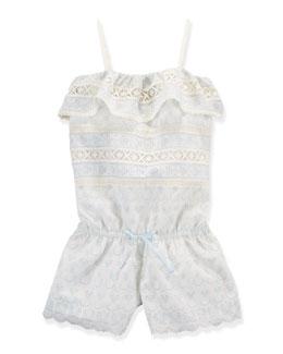 Cotton Batiste Eyelet Romper, Doric White, Size 2T-6X