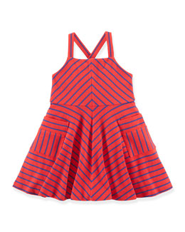 Striped A-Line Jersey Dress, Red, Size 2T-6X