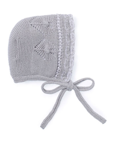 Knit Baby Bonnet, Gray