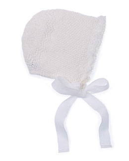 Knit Lace-Trim Baby Bonnet, Ivory