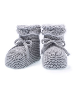 Knit Baby Booties, Gray