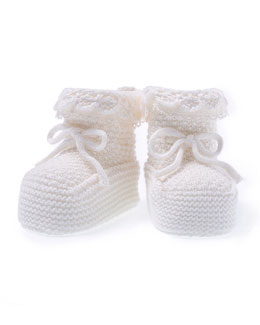 Knit Baby Booties, Ivory
