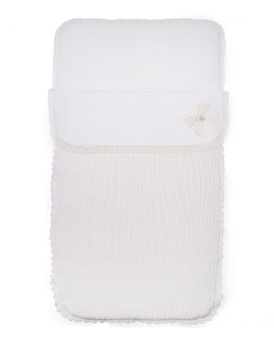 Knit Lace-Trim Bunting Bag, Ivory