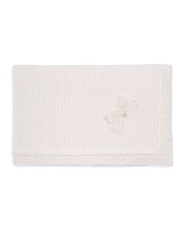 Knit Lace-Trim Blanket, Ivory