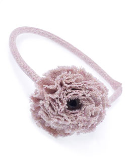 Tweed Flower Headband, Pink