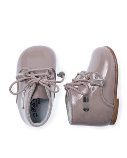Patent Leather Baby Bootie, Taupe, Infant