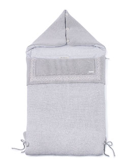 Hooded Knit Bunting Bag, Gray