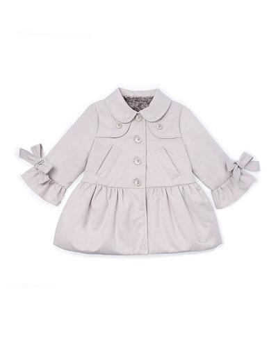 Bow-Trim Peplum Raincoat, Tan, Size 12M-3