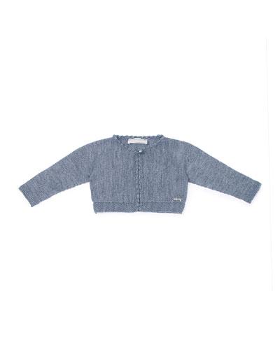 Long-Sleeve Wool-Blend Bolero, Charcoal, Size 12M-3