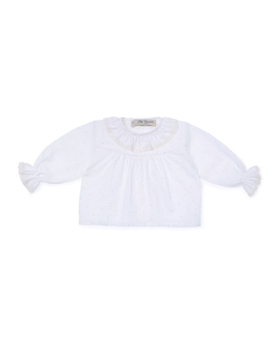 Embroidered Lace-Trim Blouse, Ivory, Size Newborn-6 Months