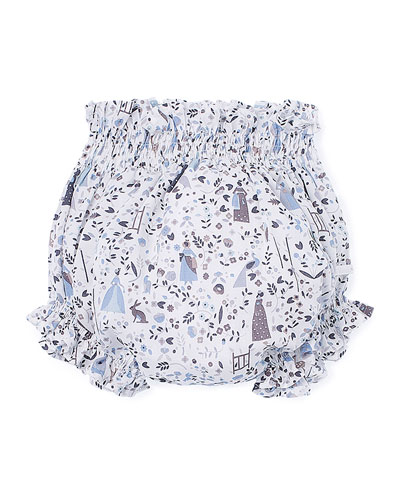 Printed Cotton Bloomers, White/Blue, Size 3-12 Months