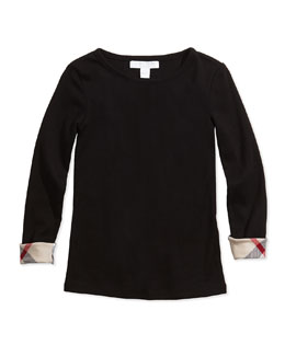 Check-Cuff Long-Sleeve Tee, 4-14Y