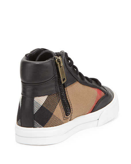 Haypark Mini Check High-Top Sneakers, Black/Tan, Toddler