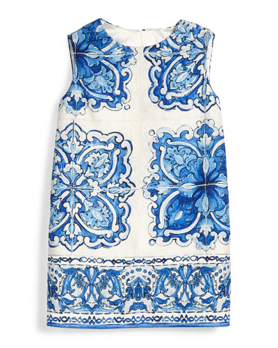 Sleeveless Floral-Print Shift Dress, Blue/White, Girls' Size 8-12