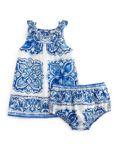 Sleeveless Floral-Print Shift Dress & Bloomers, Blue/White, Girls