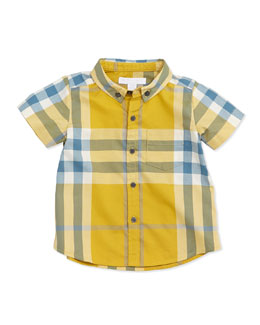 Mini Short-Sleeve Check Fred Shirt, Yellow, Size 3M-3Y