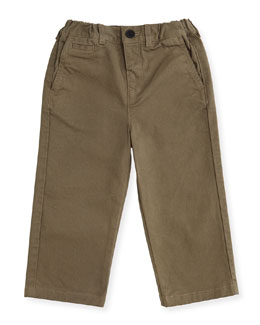 Bryan Stretch-Twill Pants, Mink Gray, Size 3M-3Y