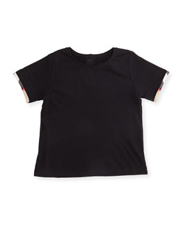 Tulisa Check-Cuff Jersey Tee, Size 3M-3Y