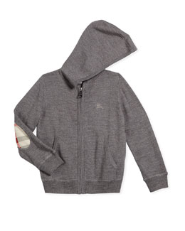 Hooded Zip-Front Sweater, Gray, Size 4-14