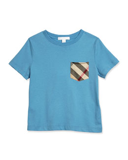 Short-Sleeve Check-Pocket Jersey Tee, Size 4-14