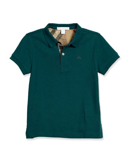 Pique Cotton Polo Shirt, Teal, Size 4-14