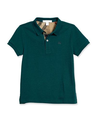 Pique Cotton Polo Shirt, Teal, Size 4-14